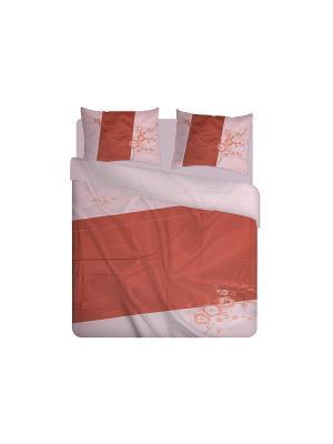 Комплект постельного белья с вышивкой 4 предмета HAMRAN. Цвет: бледно-розовый, розовый