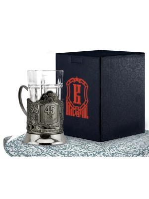 Набор для чая никелированный с чернью 45 лет (подстаканник + стакан футляр) Кольчугинъ. Цвет: серебристый