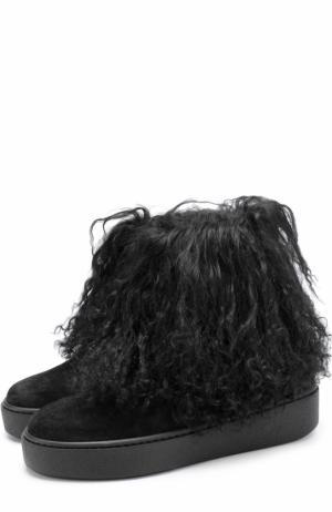 Замшевые ботинки с отделкой из овчины Baldan. Цвет: черный
