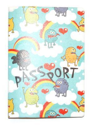 Обложка для паспорта Lola. Цвет: лазурный, желтый