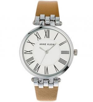 Часы с коричневым кожаным браслетом Anne Klein