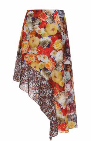 Шелковая юбка асимметричного кроя с цветочным принтом Acne Studios. Цвет: разноцветный