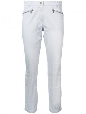 Укороченные брюки с карманами на молнии Veronica Beard. Цвет: серый
