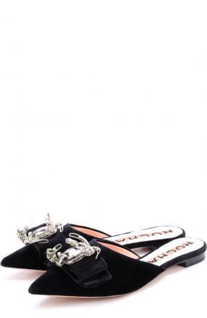 Бархатные сабо с декорированном бантом Rochas. Цвет: черный