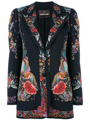 Пиджак с цветочным принтом Roberto Cavalli. Цвет: чёрный