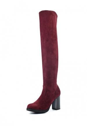 Ботфорты Ideal Shoes. Цвет: бордовый