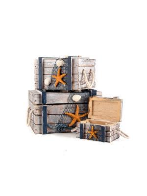 Набор шкатулок Морская романтика из 3 шт. Русские подарки. Цвет: серый, оранжевый
