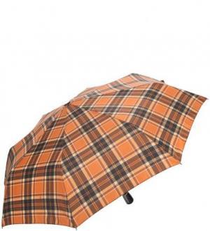 Коричневый складной зонт в клетку Doppler. Цвет: коричневый