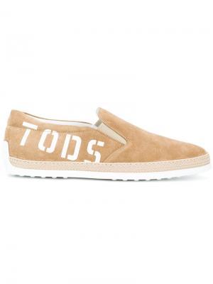Эспадрильи с принтом-логотипом  Tods Tod's. Цвет: коричневый
