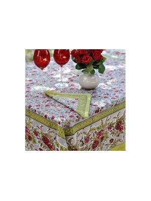 Скатерть Rosy grey red /Розовый серый красный/ 150*150см, 100% хлопок Mas d'Ousvan. Цвет: серо-зеленый