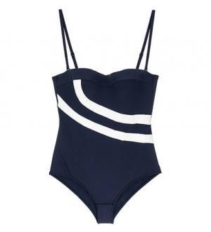 Синий слитный купальный костюм Huit. Цвет: синий