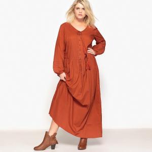 Платье длинное, длинные рукава CASTALUNA. Цвет: красно-коричневый