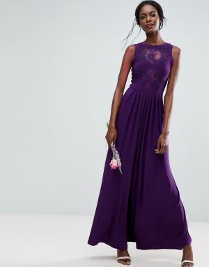 ASOS Платье макси с кружевным топом и трикотажной плиссированной юбкой. Цвет: фиолетовый