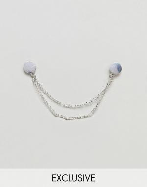 Icon Brand Серебристое состаренное украшение для воротника с цепочкой. Цвет: серебряный