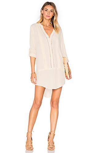 Платье-рубашка с вышивкой Bishop + Young. Цвет: ivory