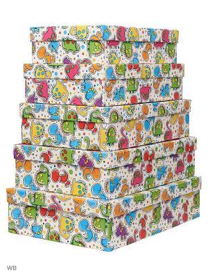 Набор из 5 картонных коробок Динозаврики VELD-CO. Цвет: синий, зеленый, красный