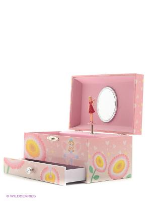 Шкатулка музыкальная с фигуркой и выдвигающимся отделением Jakos. Цвет: розовый, белый, голубой, бежевый, бледно-розовый