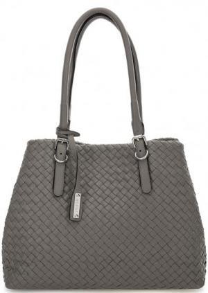 Серая плетеная сумка с длинными ручками Abro. Цвет: серый