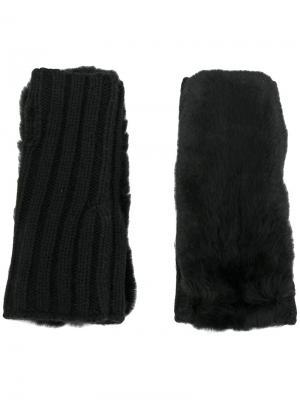 Трикотажные митенки Yves Salomon Accessories. Цвет: чёрный