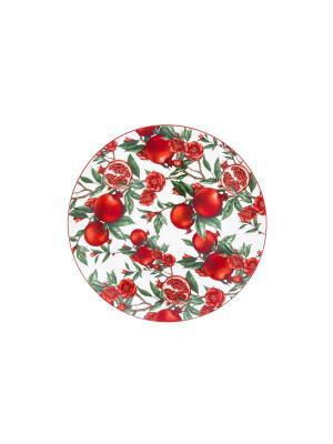 Блюдо Гранаты Elan Gallery. Цвет: красный, белый, зеленый