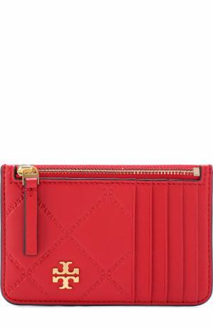 Кожаный футляр для кредитных карт с логотипом бренда Tory Burch. Цвет: красный