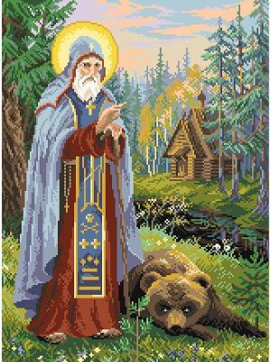 Рисунок на канве Сергий Радонежский Матренин Посад. Цвет: зеленый