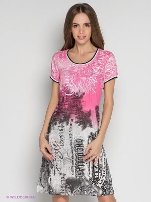 Платье Not The Same. Цвет: розовый, белый, темно-коричневый