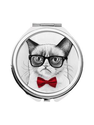 Зеркальце карманное Недовольный кот в бабочке Chocopony. Цвет: белый, красный, серый