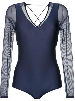 Long sleeves body Giuliana Romanno. Цвет: синий