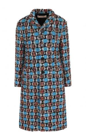 Приталенное шерстяное пальто Marni. Цвет: синий