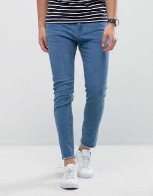 Only & Sons Голубые джинсы скинни с необработанными краями. Цвет: синий