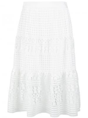 Многослойная кружевная юбка Diane Von Furstenberg. Цвет: белый