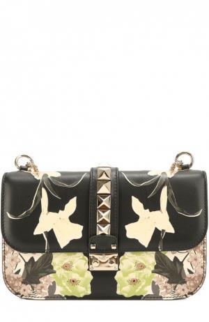 Сумка Glam Lock medium с цветочным принтом Valentino. Цвет: черный