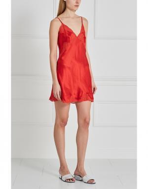 Шелковая сорочка Mathilide Sabbia Rosa. Цвет: красный