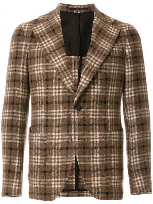 Классический пиджак в клетку Tagliatore. Цвет: коричневый