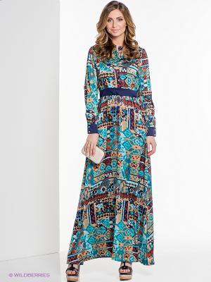 Платье ELENA FEDEL. Цвет: бирюзовый, коричневый, темно-синий