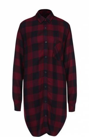 Удлиненная блуза в клетку с накладным карманом Rails. Цвет: бордовый