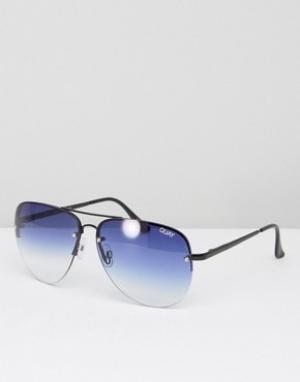 Quay Australia Солнцезащитные очки-авиаторы с эффектом деграде Muse. Цвет: синий
