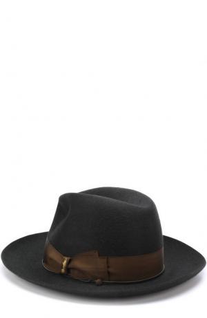 Фетровая шляпа с лентой Borsalino. Цвет: темно-зеленый
