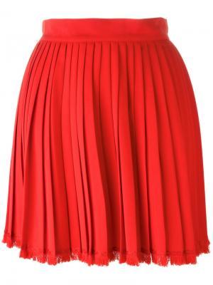 Плиссированная мини юбка Versace Vintage. Цвет: красный