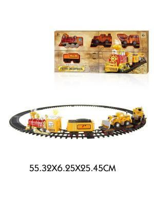 Железная дорога Ретро  Экспресс, свет,звук, дым,паровоз, 3 вагона, 12 деталей 1Toy. Цвет: серый