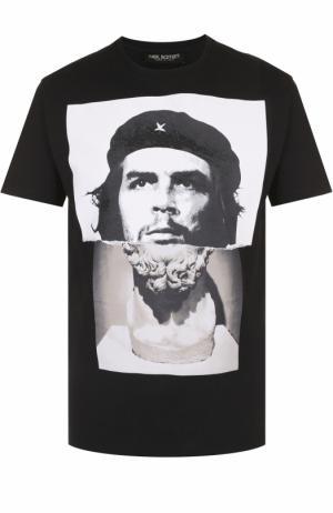 Хлопковая футболка с принтом Neil Barrett. Цвет: черный