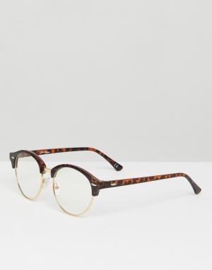Jeepers Peepers Черепаховые очки в стиле ретро с прозрачными стеклами. Цвет: коричневый