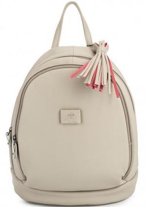 Кожаный рюкзак с узкими лямками Bruno Rossi. Цвет: серый