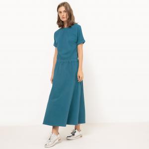 Платье длинное с эластичным поясом La Redoute Collections. Цвет: красно-коричневый,сине-зеленый