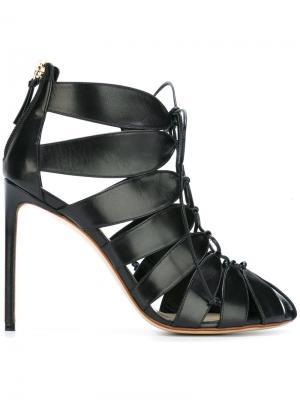 Туфли-лодочки на молнии и шнуровке Francesco Russo. Цвет: чёрный