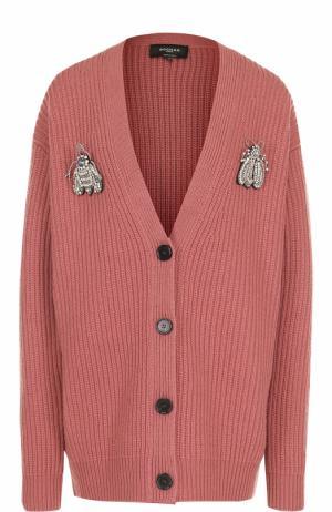 Вязаный шерстяной кардиган с брошами Rochas. Цвет: розовый