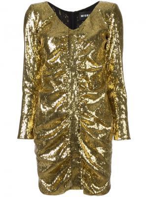 Платье с пайетками Misbhv. Цвет: металлический