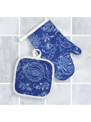Набор кухонный: прихватка+рукавица Блакiт. Цвет: синий