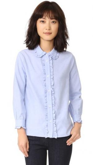 Рубашка на пуговицах с оборками ENGLISH FACTORY. Цвет: оксфордский синий